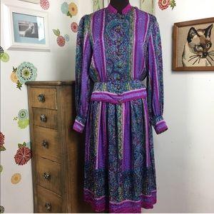 Vintage Silk Suit Purple Paisley Jewel Tone 1980s